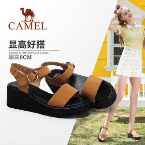 Camel/骆驼女鞋 2018夏季新款休闲厚底凉鞋松糕鞋防水台坡跟同款晚晚鞋