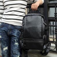 2018新款韩版时尚潮流真皮背包男大容量商务旅行电脑包男士双肩包