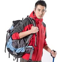 男冲锋衣裤两件套装春秋薄款四季速干裤女防水户外用品登山衣服装 红色 男冲锋衣
