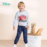 迪士尼Disney童装 男童运动长袖套装秋季新品 简约卫衣+仿牛仔抓绒长裤2件套 193T971