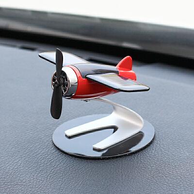 太阳能飞机车内饰品摆件个性创意车载中控台汽车高档男士装饰用品 太阳能驱动旋转