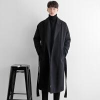 秋冬季风衣男中长款毛呢外套潮流帅气韩版过膝腰带款羊毛妮子大衣