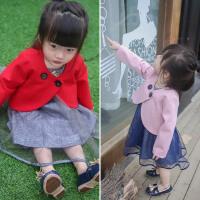 秋装新款宝宝女童刺绣花朵网纱毛呢背心裙+外套披肩两件套装