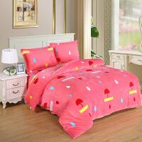 冬季床上用品法兰绒珊瑚绒四件套儿童法莱绒被套床单学生1.5m米床
