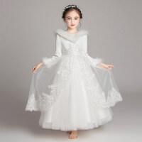 花童礼服女童公主裙红色小主持人钢琴演出服儿童加绒加厚晚礼服冬