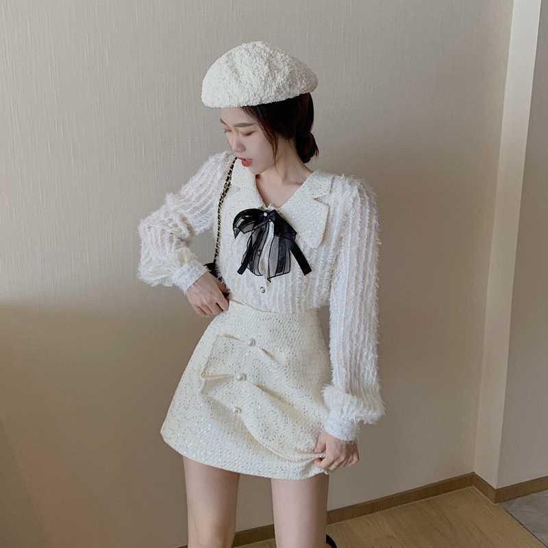 轻熟风套装法式蝴蝶结上衣高腰半身短裙秋冬2020新款时尚两件套女