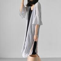 蕾丝衫女短袖夏季韩版百搭中长款宽松开叉喇叭袖雪纺开衫