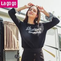 【5折价121.5】Lagogo2018夏季新款袖口撞色拼接圆领针织衫刺绣套头九分袖女装HAMM313C20