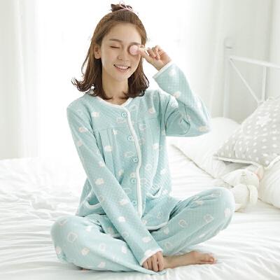 长袖哺乳喂奶衣春秋孕妇睡衣套装秋冬空气层夹棉月子服小羊