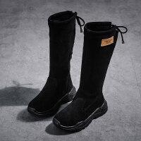 女童靴子2018秋冬新款韩版儿童马丁靴加绒长靴公主中筒靴女孩高靴 26码 内长约15.8cm