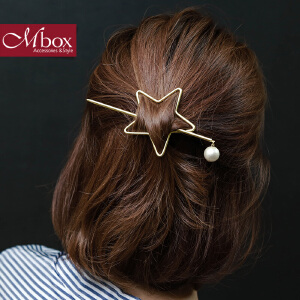 新年礼物Mbox发夹 女款韩国版时尚简约设计发饰边夹顶夹头饰发箍 星星点灯