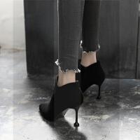 短靴女鞋尖头2018春秋冬季新款高跟网红瘦瘦靴细跟韩版百搭女靴子SN1152