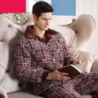 冬天家居服大码 冬季三层厚款珊瑚绒夹棉睡衣男士加绒棉袄法兰绒