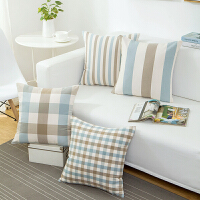 欧式宜家蓝白灰格子沙发抱枕靠垫套办公室靠垫抱枕套不含芯