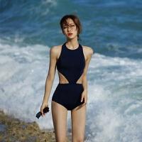 韩国泳衣女保守连体遮肚显瘦性感高领露背镂空小胸度假泡温泉泳衣