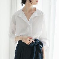 新年优惠【NEW】好穿到无感 早秋v领上衣白色衬衫女士长袖白衬衣女2018新款宽松 白色