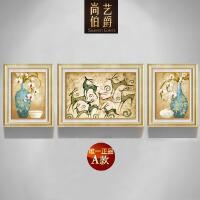欧式装饰画客厅简约现代三联画组合沙发背景墙餐厅挂画美式发财鹿