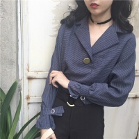 秋季女装韩版复古宽松条纹西装领衬衣大扣子绑带袖宽松衬衫 均码
