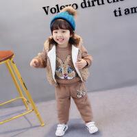 小宝宝冬装女孩0加绒1新款卫衣2婴幼儿童洋气女童三件套装秋冬3岁巴拉
