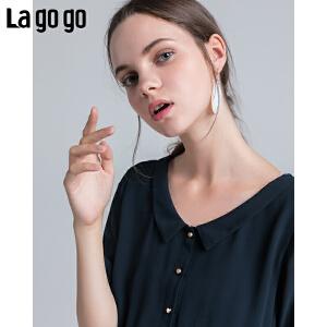 【清仓3折价119.7】Lagogo/拉谷谷2019夏季新款时尚娃娃领收腰显瘦连衣裙HALL334A21