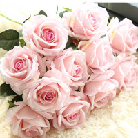 艾欧唯 干花花束摆件摆设花艺单支仿真玫瑰花假花套装高档客厅餐桌装饰花