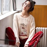 日式睡衣女秋长袖棉质时尚休闲洋气少女日式套头春秋两件套家居服