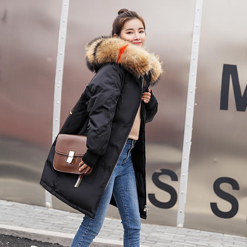 羽绒女中长款冬季新款韩版宽松bf棉衣女加厚大毛领棉袄