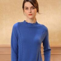 秋冬新款半高领羊绒女扭花短款修身显瘦毛衣针织打底纯色衫