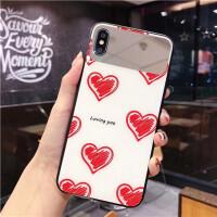 情侣爱心苹果x手机壳带镜子iPhone XS Max玻璃壳8plus/7p镜面6s女