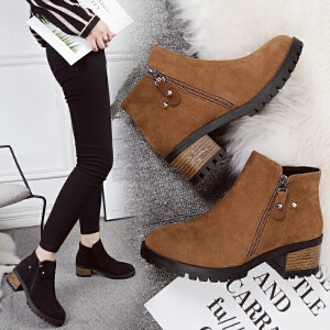 女式 秋冬新款绒面女短靴厚底低跟马丁靴平底金属扣短筒女靴及裸靴