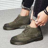 马丁鞋男秋季鞋子韩版休闲大头皮鞋英伦短靴子低帮复古工装鞋 9205绿色 高帮