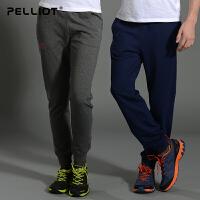 法国PELLIOT运动裤男女收口针织运动长裤训练裤卫裤健身束脚裤子