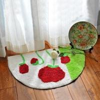 半圆吸水地垫门垫浴室防滑垫厨房地毯卡通卧室卫生间脚垫 白色 白底红玫瑰