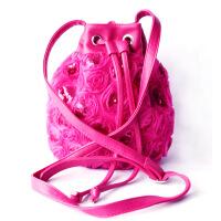 女包单肩斜跨手提包民族风蕾丝绣花亮片布包中年妈妈手工布艺包包
