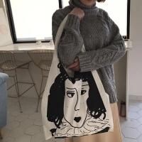个性文艺女孩涂鸦图案简约百搭休闲大容量单肩帆布包薄款布袋女