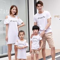 2018亲子装夏装母女母子连衣裙卡通T恤全家套装