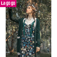 【618大促-每满100减50】Lagogo拉谷谷2018春季新款时尚无扣设计长袖针织衫女撞色口袋外套
