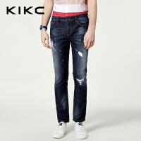 kikc牛仔裤男2018秋季新款破洞直筒韩版时尚青少年休闲长裤子男