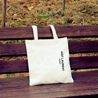 2018韩国帆布包女单肩手提简约小文艺清新字母学生书包环保购物袋 白色 竖AINT-白包