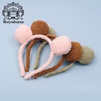 皇家莎莎儿童发箍可爱兔耳朵萌萌哒发带头饰毛绒头箍甜美发饰品