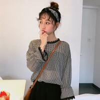2018夏季韩版百搭宽松显瘦细格花边领防晒长袖雪纺衫衬衫上衣女装