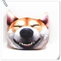 生日礼物3D神烦狗滑稽狗头抱枕平头ge靠背靠枕抱枕搞怪枕头狗年旺 柠檬黄 开心柴犬