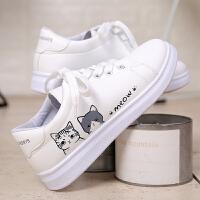 韩版学院风平底板鞋白色运动休闲鞋子女孩春秋小白鞋中小学生球鞋