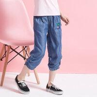 【1件2.5折到手价:39.8】moomoo童装女童牛仔短裤新款夏季莱赛尔中大儿童薄款七分裤子