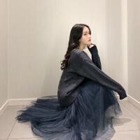 复古韩版V领缕空宽松套头毛衣+中长款仙女气质网纱半身裙套装女