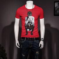 男装短袖T恤夏季半袖体恤圆领修身红色半截袖2018新款潮流 红色 M