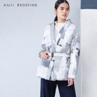 [AMII东方极简]设计师品牌JIIJII AMII冬新款女装文艺大码加厚修身白鸭绒腰带印花羽绒服