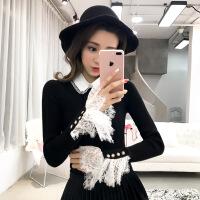 秋冬新款韩版修身套头毛衣女蕾丝拼接喇叭袖打底针织衫娃娃领上衣