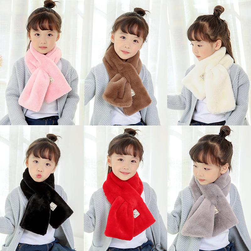儿童围巾秋冬季保暖纯色男女童宝宝毛绒围脖围巾