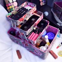 化妆箱多层大容量化妆品收纳箱 大号多功能便携手提硬化妆包 灰色 PU五层